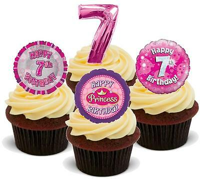 NOVELTY 7TH BIRTHDAY GIRL PARTY MIX STAND UP / Icing Edible Cake Toppers 7 Seven