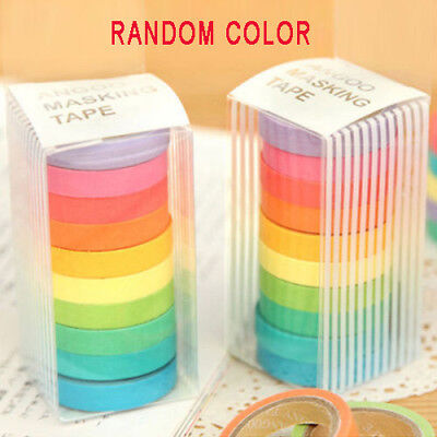 10 PCS Washi Rainbow Sticky Tape Masking Adhesive Paper Scrapbook Decorative DIY