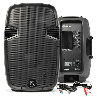 "Pair of 12"" Active Powered Speakers Mobile DJ Disco Party PA with Cable 1200W"
