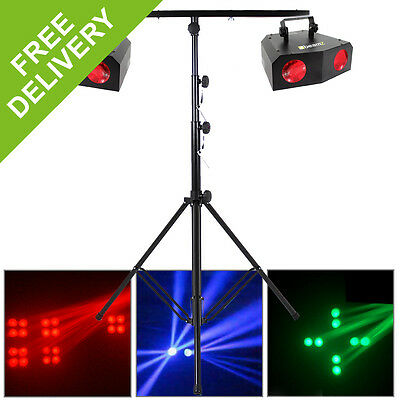 2x Beamz Bright Colour LED Party DJ Strobe Lights + T-Bar Lighting Stand