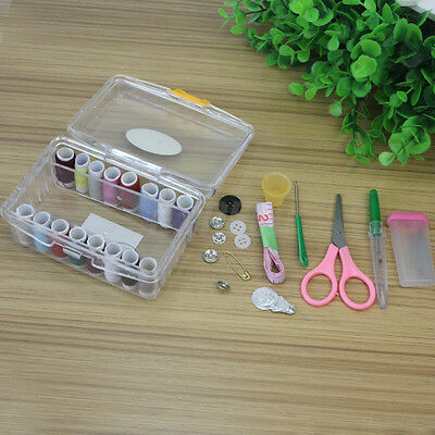 Portable Travel Sewing Kit Storage Box Needle Threads Scissor DIY Home Tools
