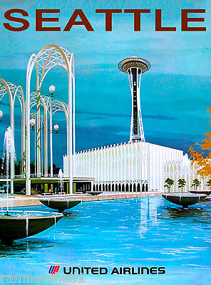 Seattle Washington Space Needle Air United StatesTravel Advertisement Poster