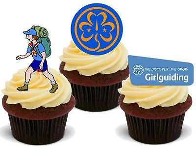 NOVELTY The Girl Guides Mix STAND UP / Icing Edible Cake Toppers Guiding Camping