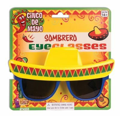 Sombrero Hat Sunglasses Cinco De Mayo Costume Accessory Prop UV Eye Glasses New