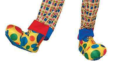 """Bright Polka Dots Clown Shoe Covers Adult 14"""" Party Halloween Costume Accessory"""
