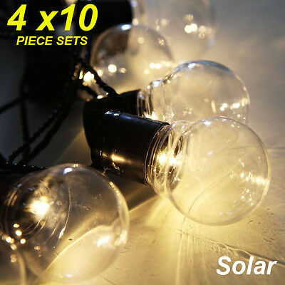 4 x 10 Piece LED Solar Clear Globe Festoon String Light Kit - Designer Lighting