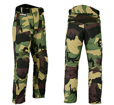 Camo Motorcycle Trousers Armoured Waterproof Textile Motorbike Pants - All Sizes