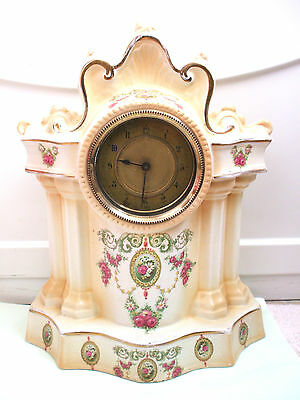 "Crown Devon Style Porcelain Flower Decoration Case Timepiece Mantle Clock 16""H"