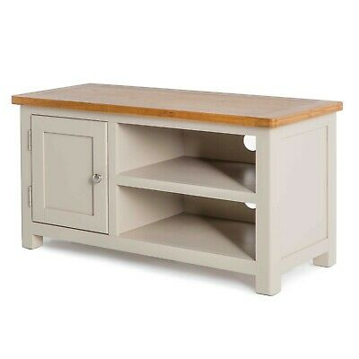 Padstow Painted TV Stand / Solid Wood Cornish Stone Painted Oak TV Unit / New