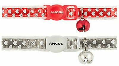 Cat Collar By Ancol Reflective Heart Safety Collar,. Id Tags Or Split Rings