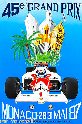 1987 45th Monaco Grand Prix Automobile Race Car Advertisement Vintage Poster
