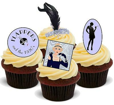 NOVELTY Flappers 1920s Mix STAND UP / Icing Edible Cake Toppers Birthday Party