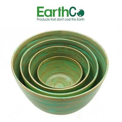 EarthCo - Bamboo Salad Bowls - 4 Item Set (Green)- SYD Stock
