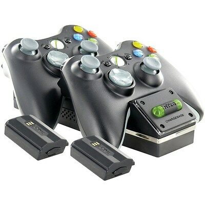 NYKO 86074 Xbox 360 Wireless Controller Charging Dock (Black) with 2 batteries