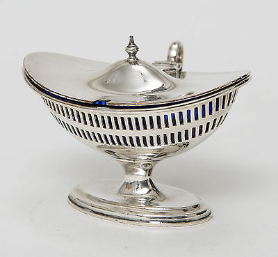 Antique Edwardian Neo Classical Silver Plated Mustard Pot Blue Glass Liner