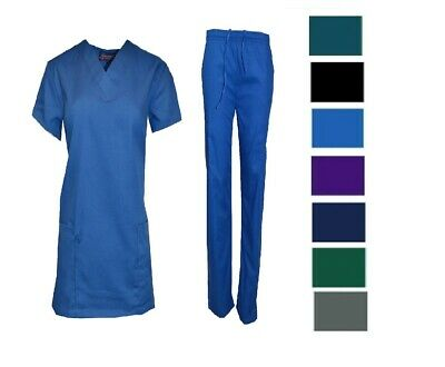 Medical Nursing Men Women Solid Scrub Set Top & Pants Hospital Uniform XS-5XL