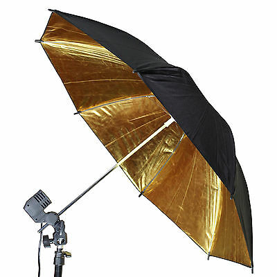 "83cm Black Gold 33"" Reflector Soft Umbrella Diffuser Photo Flash Lighting FREESH"