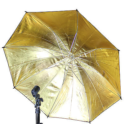 "Photo Umbrella 83cm/33"" Gold & Black studio Flash Reflector Photography Umbrella"