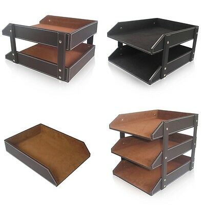 Office Leather Wooden File Document Tray Assembled Magzines File Organizer Rack