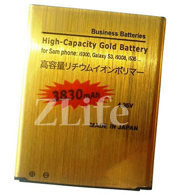 3830mAh New High Capacity Gold Replacement Battery for Samsung Galaxy S3 i9300
