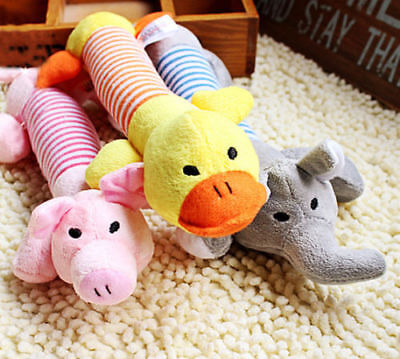 Dog Toy Pet Puppy Plush Sound Chew Squeaker Pig Elephant Duck Squeaky Toys