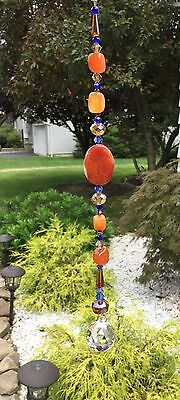 Healing Gemstone Suncatcher W/Swarovski Elements Light Honey Crystal Ball USA