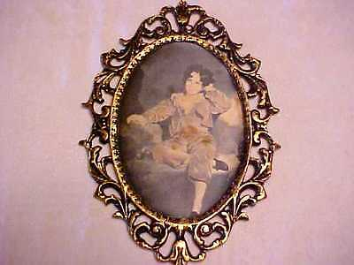 """10"""" Antique ITALIAN BRASS Oval Filigree SILK ART PRINT Young Boy PICTURE FRAME"""