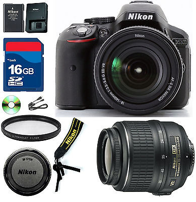 Nikon D5300  DSLR Camera Black -CellTime kit with 18-55mm DX VR & 16GB SD Card