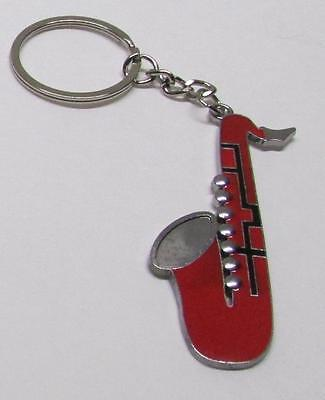 SAXOPHONE Red Silver Plated Metal Alloy KEY CHAIN Ring Keychain NEW