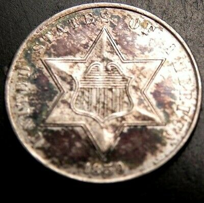 RARE 1859 3c THREE CENT SILVER PIECE MS BU UNC +++ BUY IT NOW OR MAKE OFFER