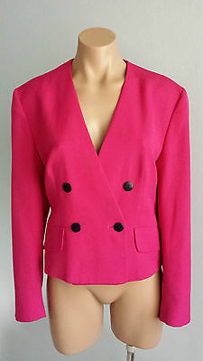 Vintage NEW 1980s Jaeger Wool Blend Hot Pink Double Breasted Boxy Jacket sz 14