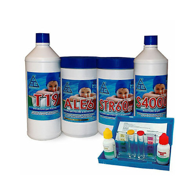 Kit 4 All Trattamento Acqua Piscina Cloro Disinfettante Antialghe Correttore Ph