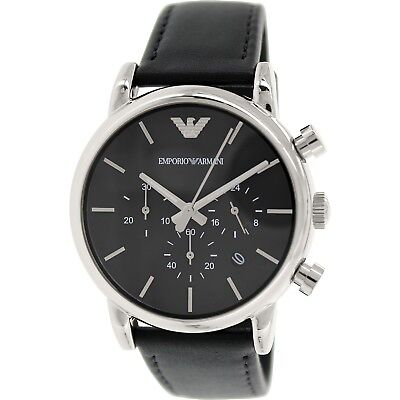 Emporio Armani Men's Classic AR1733 Black Leather Quartz Watch