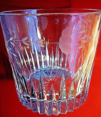 CRYSTAL ETCHED LARGE BOWL possibly ICE BUCKET