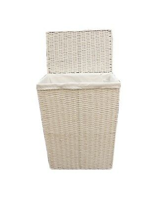 Arpan Large White Wicker Laundry Basket With Lining -Vintage Butterfly 9358-LBT