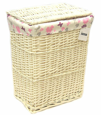 Arpan Medium White Wicker Laundry Basket With Lining - Purple Butterfly 9358-MPE