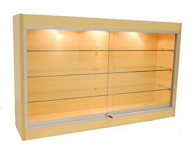 "Economy Wall Mount Glass Display Case Showcase Maple 48"" - NEW YORK PICKUP ONLY"