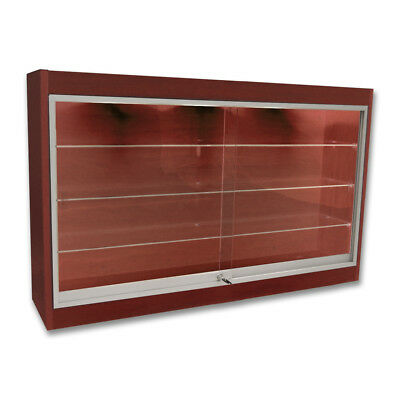 "Economy Wall Mount Glass Display Case Showcase Cherry 48"" L -   New York PICKUP"