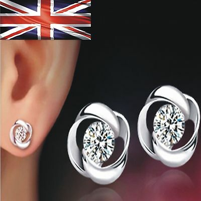 Women's 925 Sterling Silver Swirl Stud Round Crystal Earrings CZ Cubic Zirconia