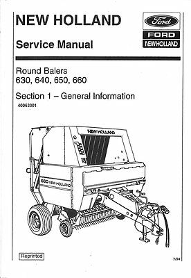 Ford New Holland 630 640 650 660 Large Round Baler Service Manual - 800-426-4214