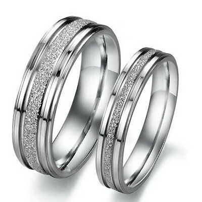 Custom Engraving 2Pcs Silver Frosted Couple Ring Set Promise Rings Wedding Rings