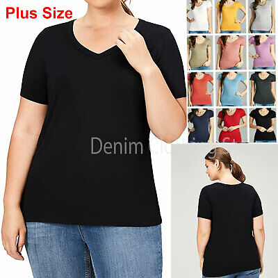 Womens Plus Size Basic Short Sleeve V Neck T-Shirt Top Stretch Fitted Solid 1~3x