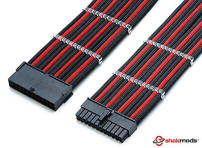 24pin ATX EPS CPU Black Red Sleeved Extension 30cm Shakmods With 2 Cable Combs