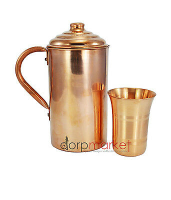Hand Made Pure copper Pitcher Jug & Glass For storing Drinking Water Ayurveda