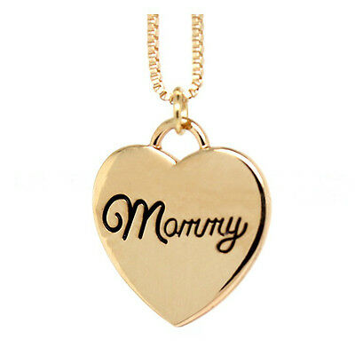 *uk* 925 Silver Plt/gold 'mommy' Engraved Love Heart Pendant Necklace Mother Mum