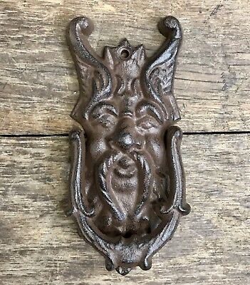 Cast Iron Small Gothic Winged Face Vintage Door Knocker