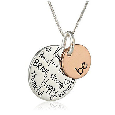 *Uk* 925 Silver Plt 'Be Kind True Brave Strong Happy Thankful' Pendant Necklace