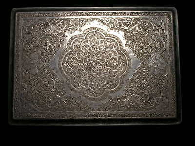 Vintage Islamic Persian Teheran NCO Open Mess Silver Cigarette Case Signed