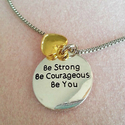 *Uk* 925 Silver Plt 'Be Strong Courageous You' Engraved Pendant Necklace Heart