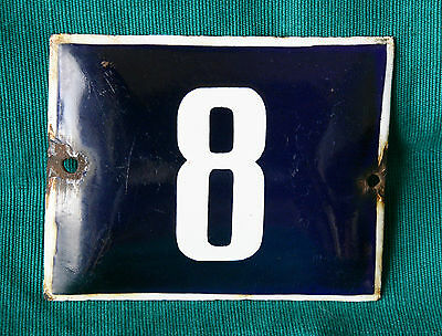 VINTAGE 60`s PORCELAIN ENAMEL SIGN PLATE STREET HOME DOOR NUMBER 8 • CAD $18.89